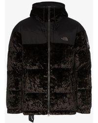 The North Face - Velvet Nuptse Jacket In Black - Lyst