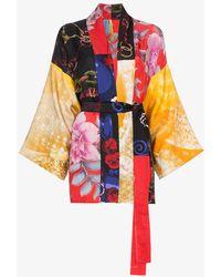 Rianna + Nina - Short Multi Floral Bridle Print Silk Kimono Robe - Lyst