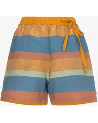 A Peace Treaty - Striped Cotton And Silk Shorts - Lyst