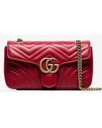 ba3c2949526f Gucci - Red GG Marmont Small Leather Matelassé Shoulder Bag - Lyst