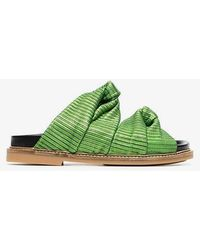 Ganni - Green Anoush Knotted Embossed Leather Slides - Lyst