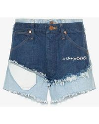 Natasha Zinko - Destroyed Patchwork Cotton Shorts - Lyst