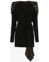 Saint Laurent - Studded Chainmail Dress In Sablé - Lyst