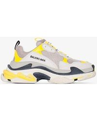 Balenciaga - Grey, White And Yellow Triple S Trainers - Lyst