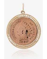 Jacquie Aiche - 14k Gold And Diamond Coin Necklace - Lyst