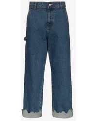 ADER error - Turn Up Torn Hem Cotton Jeans - Lyst