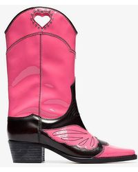 Ganni - Pink And Black Marlyn 45 Leather Cowboy Boots - Lyst