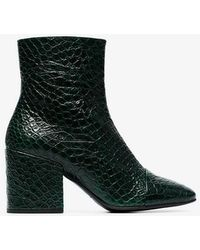 90f616a640680d Dries Van Noten - Green 70 Snakeskin Embossed Leather Ankle Boots - Lyst
