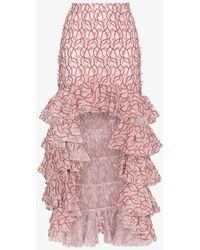Giambattista Valli - Floral Ruffle Asymmetric Skirt - Lyst