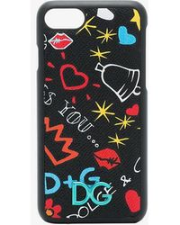 Dolce & Gabbana - Black And Multicoloured Graffiti Print Iphone 7 Case - Lyst