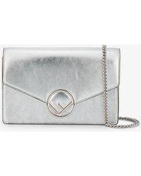723102b4821f Fendi Metallic Gold Logo Leather Wallet On A Chain Bag in Metallic ...