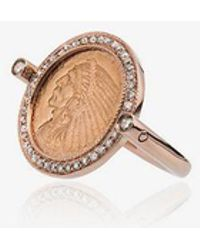 Jacquie Aiche - Antique Coin 14kt Rose Gold Ring - Lyst