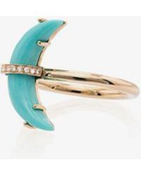 Andrea Fohrman - 14k Yellow Gold Small Crescent Moon Diamond Ring - Lyst