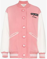 Miu Miu - Oversized Two-tone Leather And Wool Bomber Jacket - Lyst