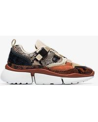 Chloé - Multicoloured Sonnie Snake Print Canvas And Suede Leather Sneakers - Lyst
