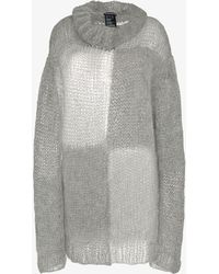 Ann Demeulemeester - Oversized Turtle Neck Mohair Cotton-blend Sweater - Lyst