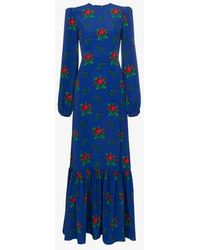 The Vampire's Wife - Belle Padded Shoulder Floral Print Maxi Dress - Lyst