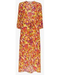 Adriana Degreas - Flower And Fruit Printed Belted Robe - Lyst