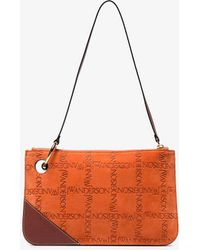 JW Anderson - Orange Pierce Logo Suede Leather Clutch - Lyst