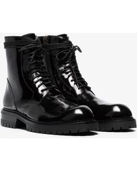 Ann Demeulemeester - Black Patent Leather Chunky Lace-up Boots - Lyst