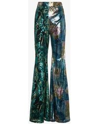 Halpern - Wide Legged Trousers With Contrasting Sequin Embellishment - Lyst