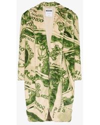 Moschino Faux Fur Dollar Bill Coat - Green