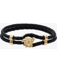 Versace - Black Medusa Leather Bracelet - Lyst
