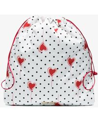 Miu Miu - White Drawstring Pouch With Polka Dots - Lyst