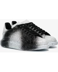 Alexander McQueen - Black And White Sprayed Tint Print Leather Trainers - Lyst