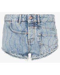 Filles A Papa - Crystal Swirl Embellished Denim Shorts - Lyst