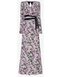 Ronald Van Der Kemp - Silk Floral Wrap Dress - Lyst