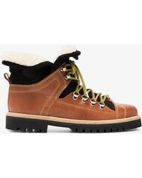 Ganni - Brown Edna Leather Hiking Boots - Lyst