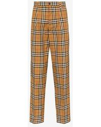 Burberry - Classic Check Print Tailored Cotton Trousers - Lyst
