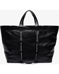 Balenciaga - - Carry Shopper M Leather Bag - Mens - Black White - Lyst
