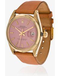 La Californienne - 14k Gold Flamingo Rolex Oyster Perpetual Date Leather Watch - Lyst