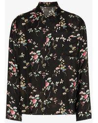 Haider Ackermann - Black Floral Print Long Sleeve Shirt - Lyst