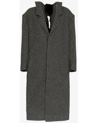 ShuShu/Tong - Mid Length Faux Fur Embellished Wool Coat - Lyst