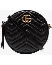 d310affe19f6 Gucci - Black GG Marmont Mini Round Shoulder Bag - Lyst