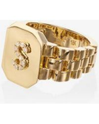 SHAY - Metallic Initial 18k Gold Diamond Signet Ring - Lyst