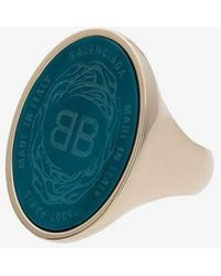 Balenciaga - Blue And Metallic Gold-tone Oval Chevaliere Ring - Lyst