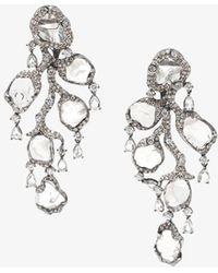 Saqqara - 18kt White Gold And Diamond 'flow' Earrings - Lyst
