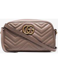 20f01bec9700 Gucci GG Marmont Matelassé Leather Shoulder Bag in Pink - Lyst