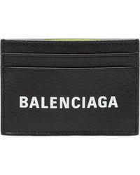 Balenciaga - Black Everyday Logo Leather Wallet - Lyst