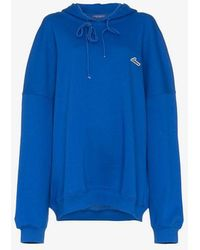 we11done - Blue Oversized Logo Patch Cotton Hoodie - Lyst