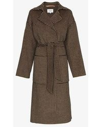 Nanushka - Alamo Houndstooth Wool Blend Belted Coat - Lyst