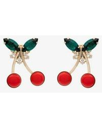 Anton Heunis - Metallic Gold, Red And Green Cherry Crystal Earrings - Lyst