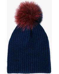 Inverni - Two-tone Fur Pom Pom Beanie - Lyst