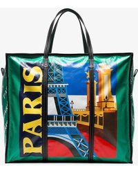 Balenciaga - Green Multicoloured Bazar Paris Xl Leather Tote - Lyst