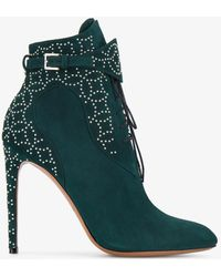 Alaïa - Green Studded Lace Up 110 Suede Boots - Lyst