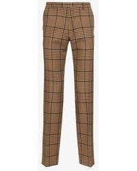 Dries Van Noten - Straight Leg Checked Trousers - Lyst